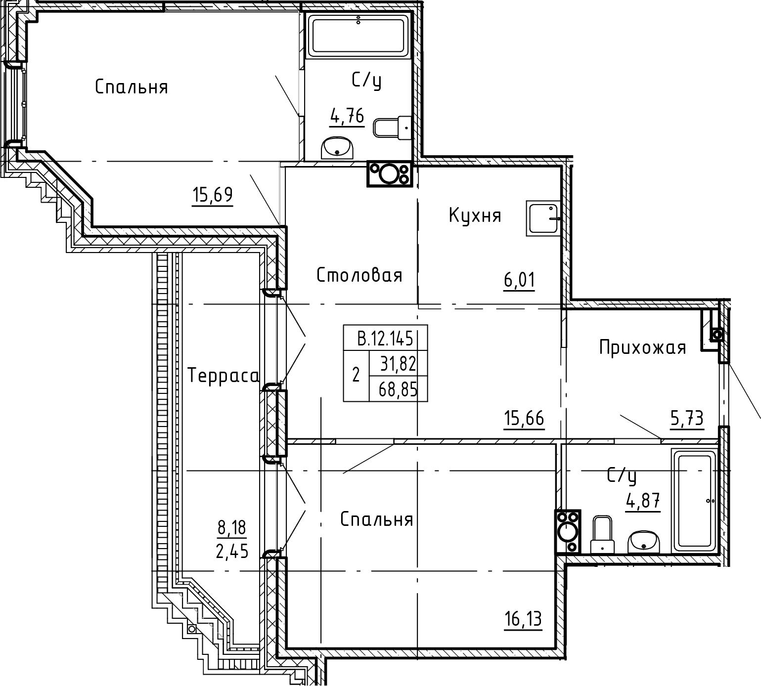 3-комнатная 77 м<sup>2</sup> на 12 этаже