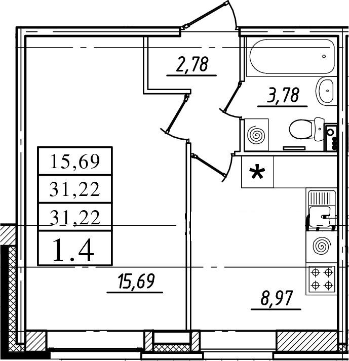 1-к.кв, 31.22 м²