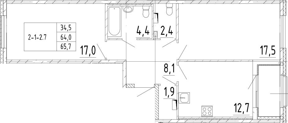 2-комнатная 67 м<sup>2</sup> на 2 этаже