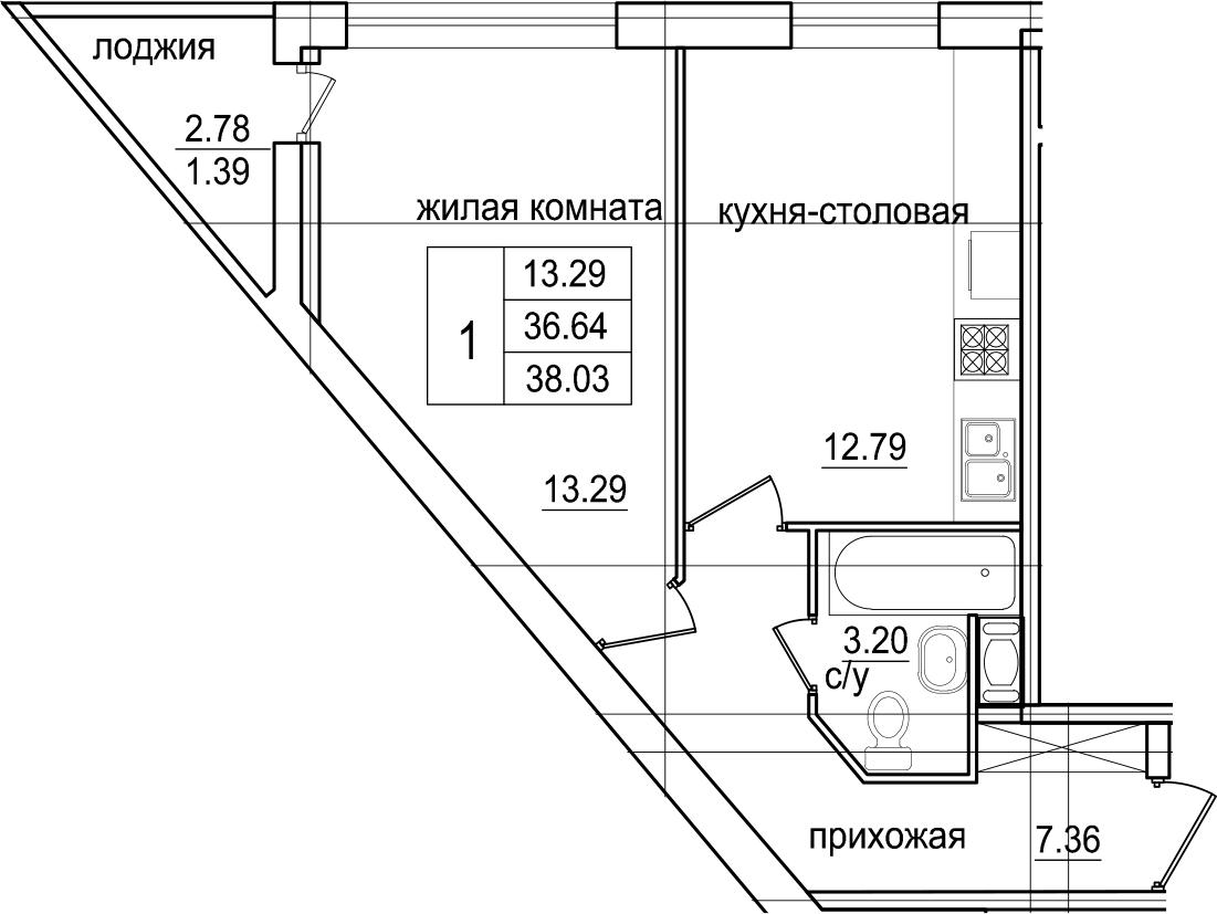 1-комнатная 39 м<sup>2</sup> на 12 этаже