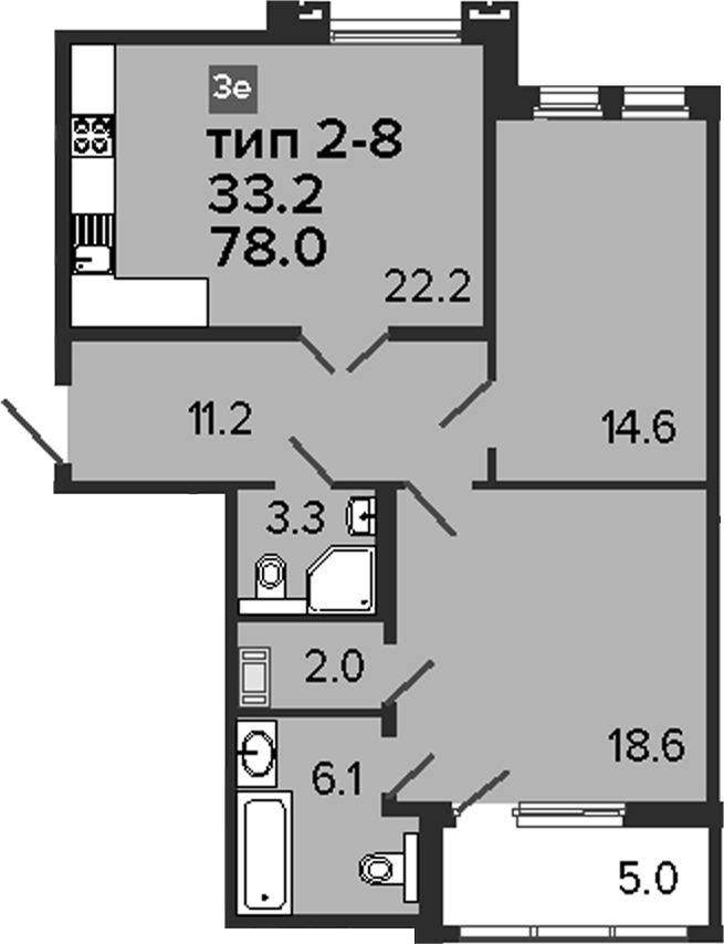 3-комнатная 83 м<sup>2</sup> на 3 этаже