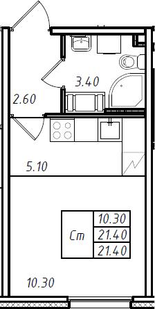 Студия 21 м<sup>2</sup> на 8 этаже
