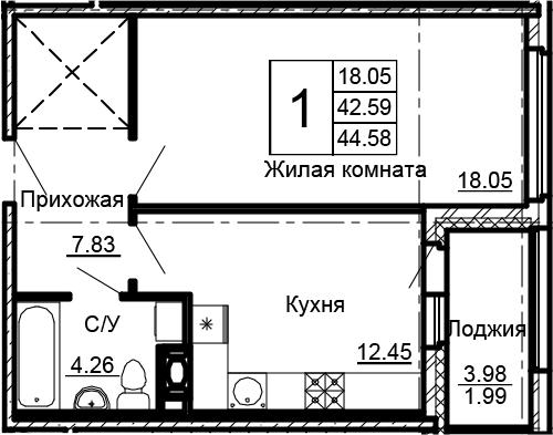 1-комнатная 46 м<sup>2</sup> на 12 этаже