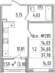 1-к.кв, 37.78 м²