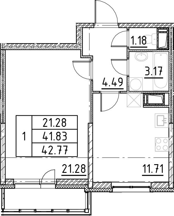 1-к.кв, 44.96 м²