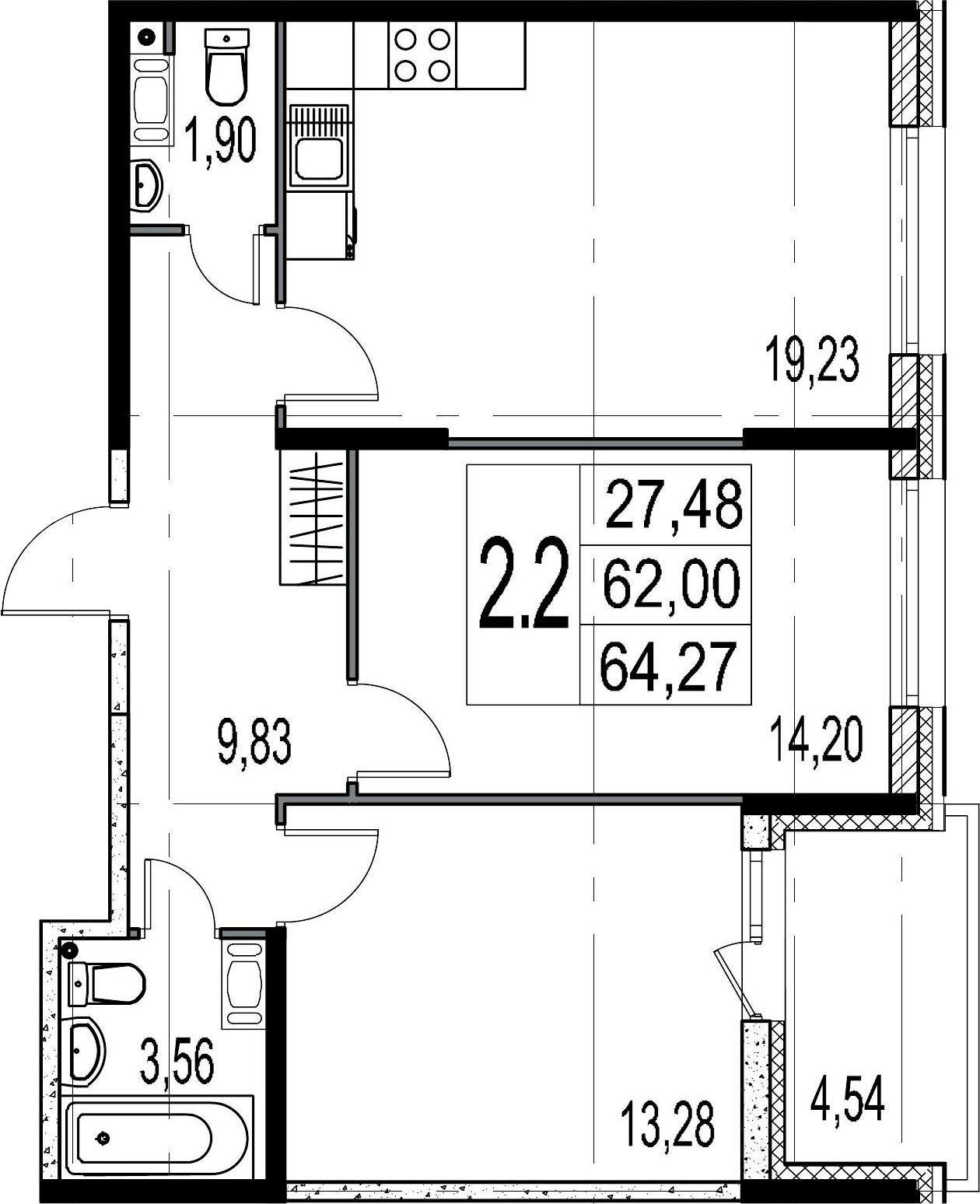 3-комнатная 66 м<sup>2</sup> на 5 этаже