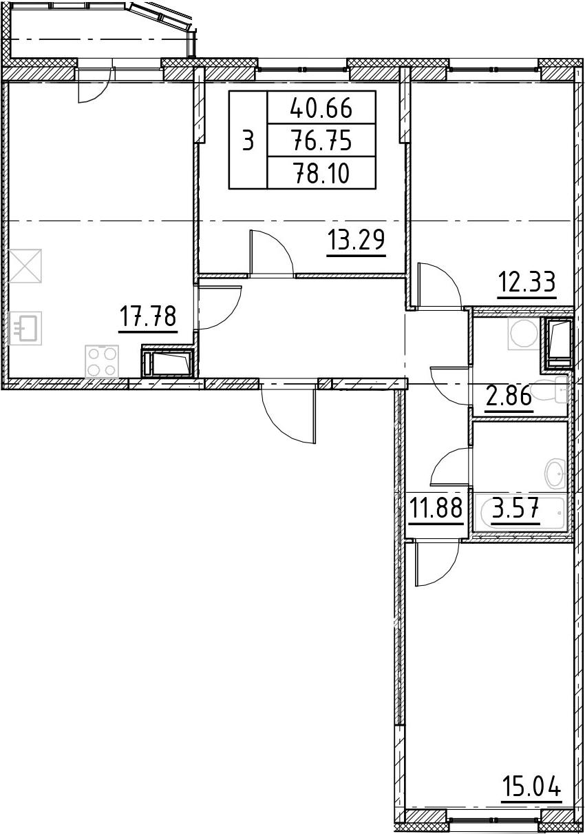 4-комнатная 79 м<sup>2</sup> на 10 этаже