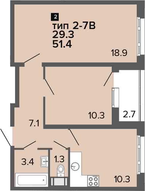 2-комнатная 54 м<sup>2</sup> на 20 этаже