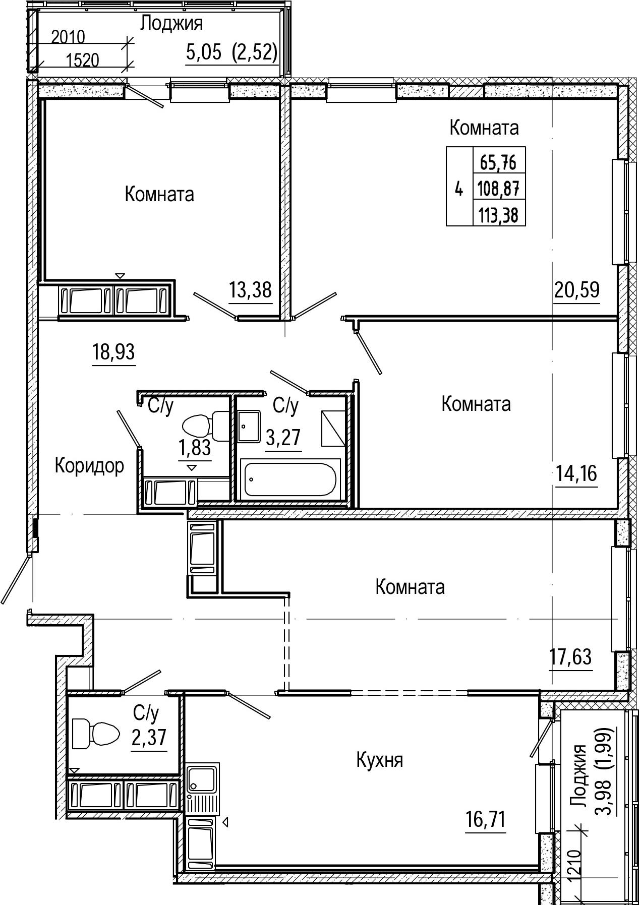 4-комнатная 117 м<sup>2</sup> на 24 этаже