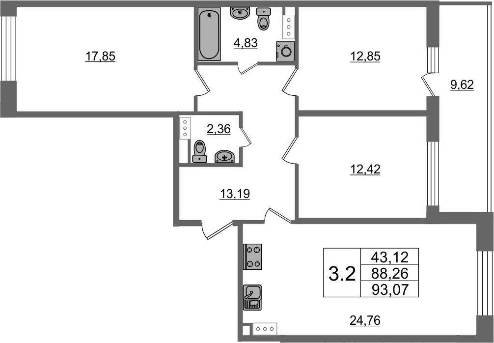4-комнатная 97 м<sup>2</sup> на 7 этаже