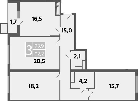 3-к.кв, 96.7 м²