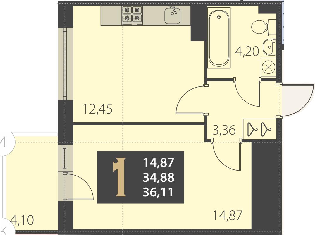 1-комнатная 38 м<sup>2</sup> на 5 этаже