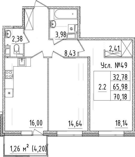 3-комнатная 70 м<sup>2</sup> на 2 этаже