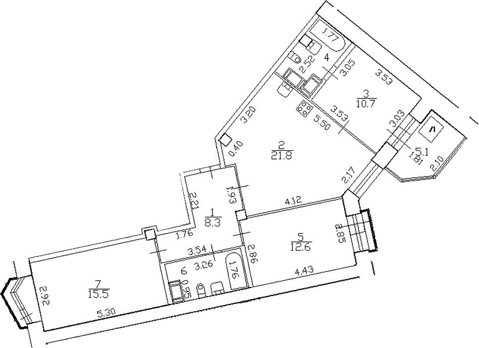 4-комнатная 83 м<sup>2</sup> на 16 этаже