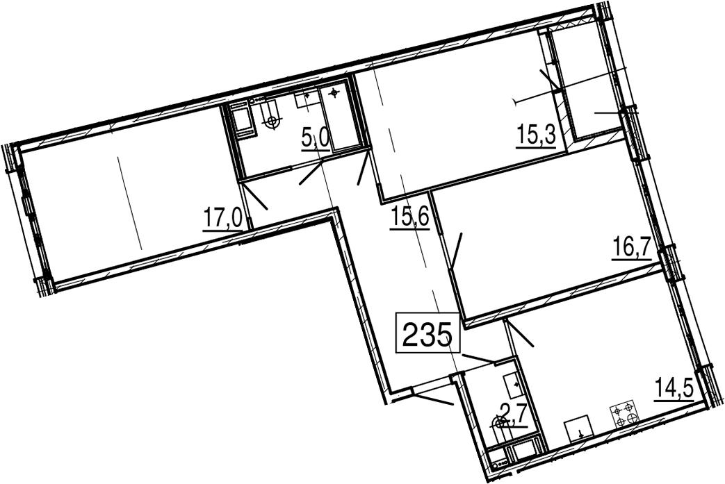 3-комнатная 90 м<sup>2</sup> на 10 этаже