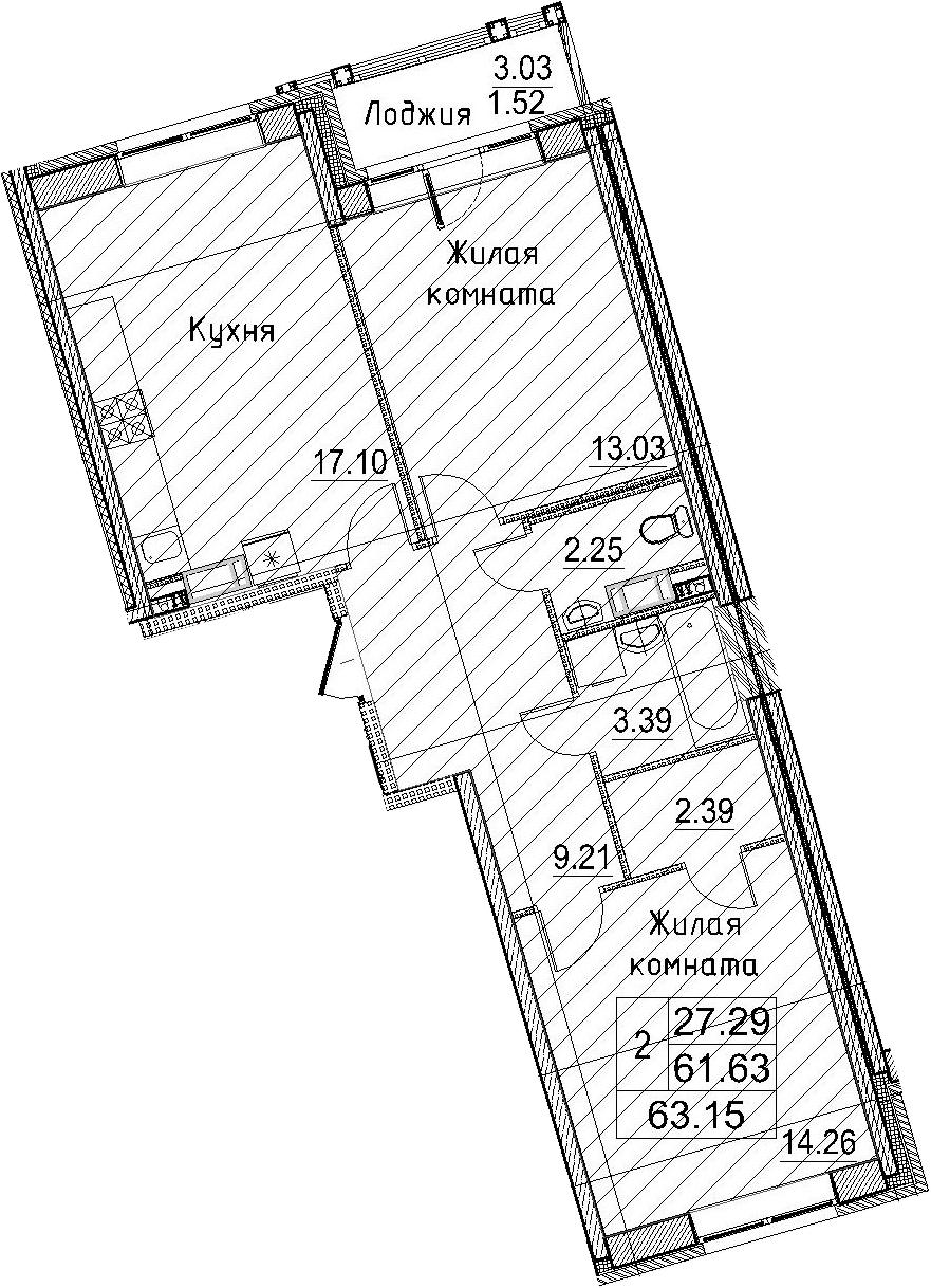 3-к.кв (евро), 64.67 м²