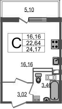 Студия 27 м<sup>2</sup> на 17 этаже