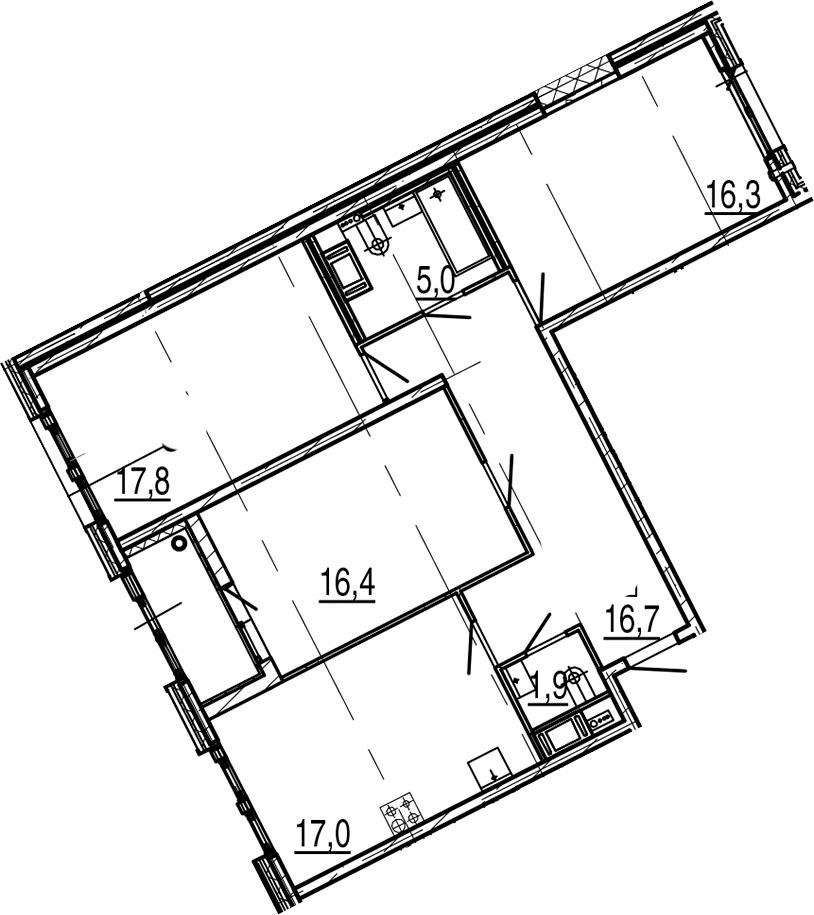 4-комнатная 94 м<sup>2</sup> на 9 этаже