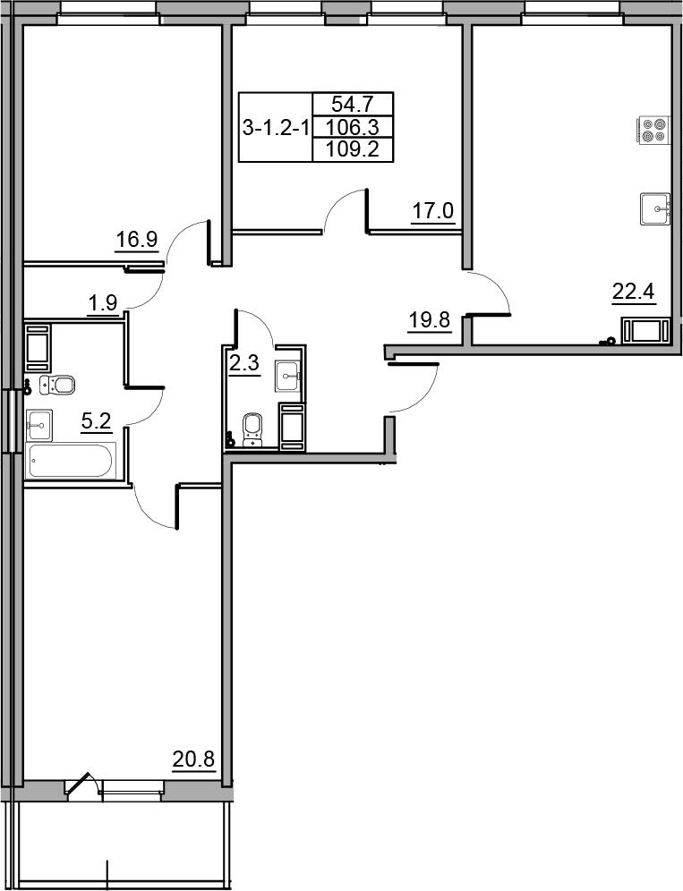 4-комнатная 112 м<sup>2</sup> на 3 этаже