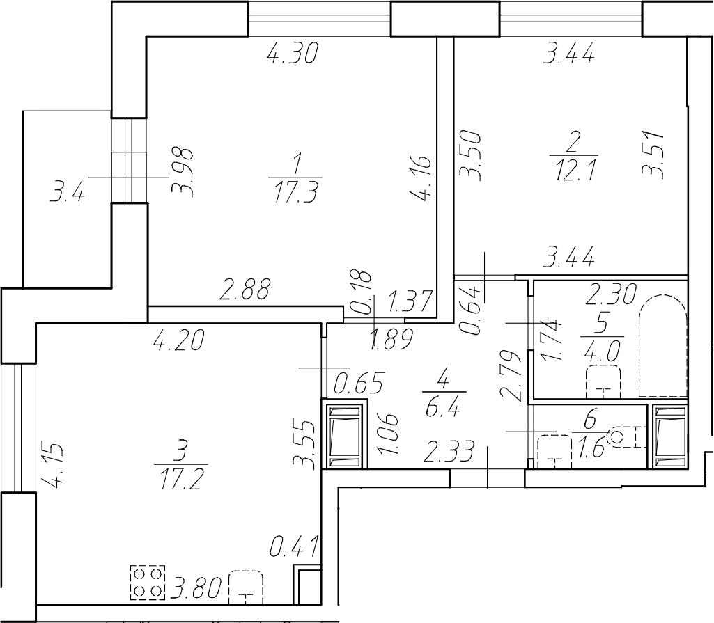 3-комнатная 62 м<sup>2</sup> на 6 этаже