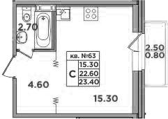 Студия, 25.1 м²