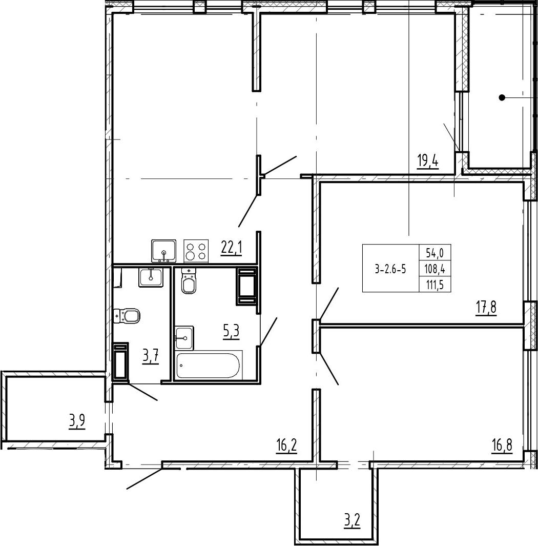 4-комнатная 114 м<sup>2</sup> на 13 этаже