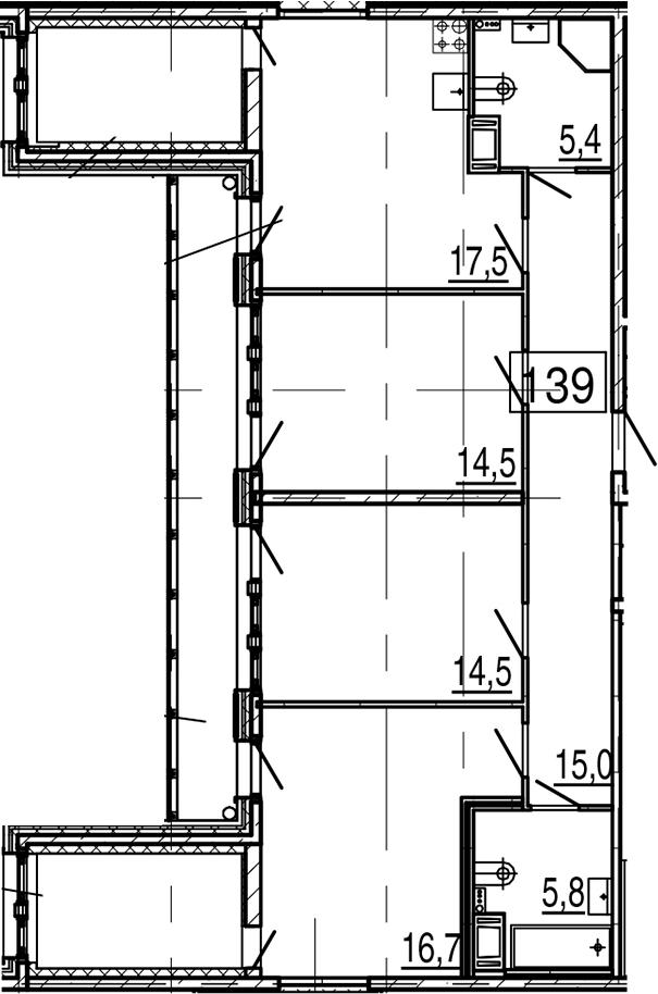 4-комнатная 113 м<sup>2</sup> на 10 этаже