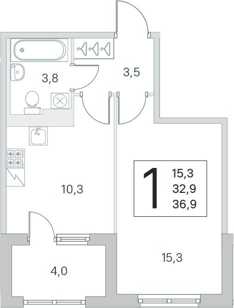 1-комнатная 36 м<sup>2</sup> на 3 этаже