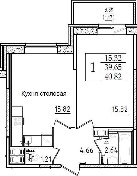 2-комнатная 43 м<sup>2</sup> на 2 этаже