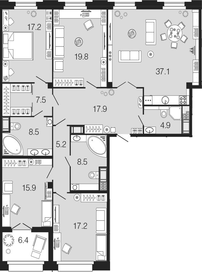 4-комнатная 166 м<sup>2</sup> на 7 этаже