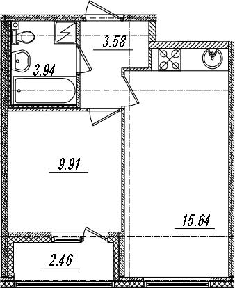 2-комнатная 35 м<sup>2</sup> на 14 этаже