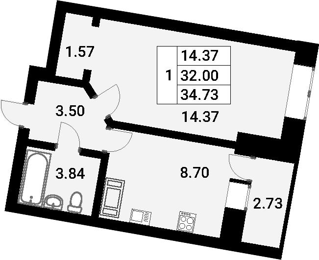 1-к.кв, 34.93 м²