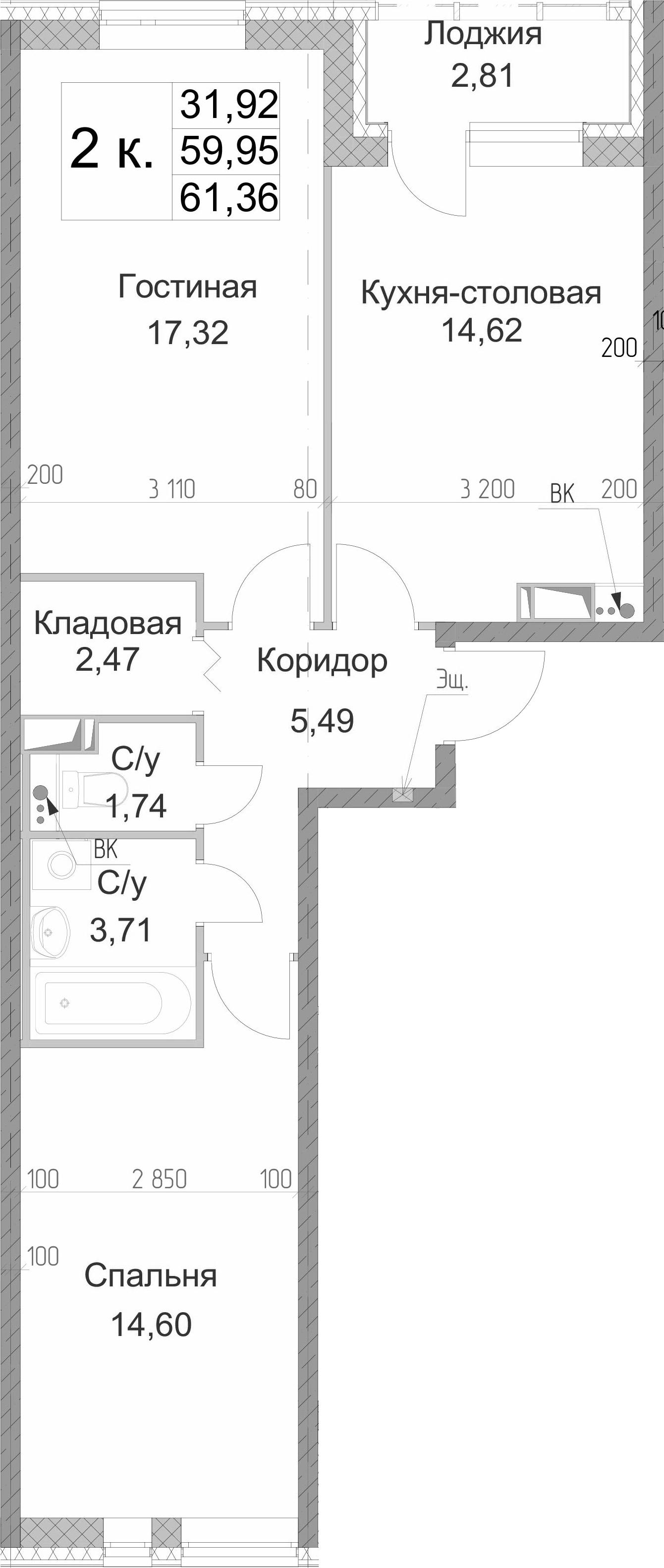 2-к.кв, 62.76 м²