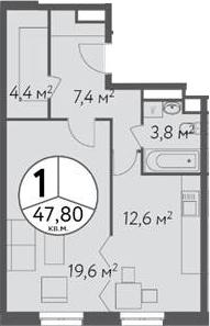 1-к.кв, 47.8 м²