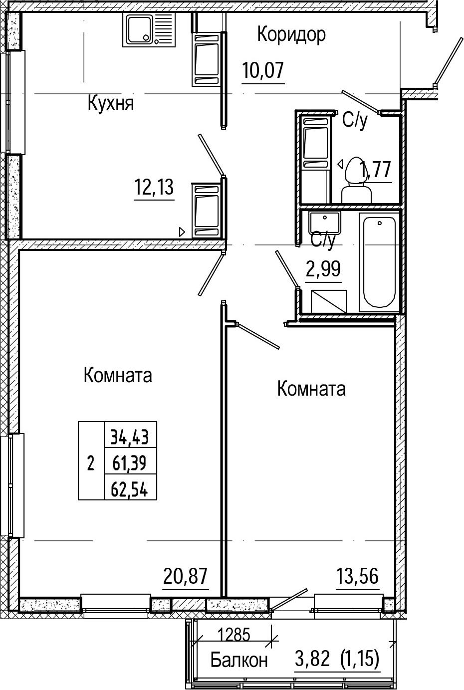 2-комнатная 65 м<sup>2</sup> на 21 этаже