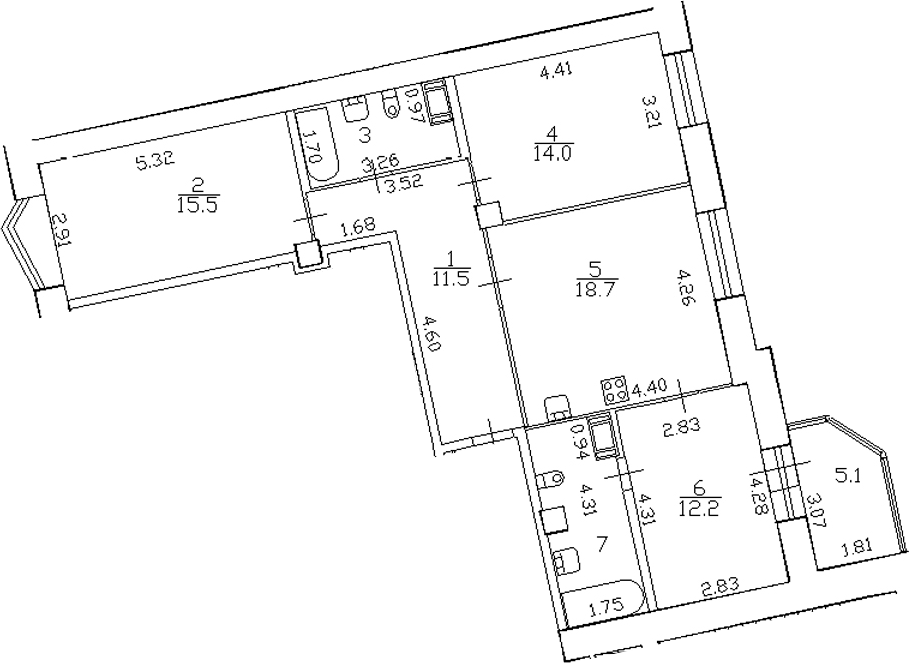 4-комнатная 88 м<sup>2</sup> на 11 этаже