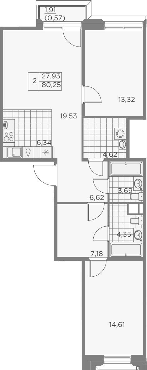3-комнатная 82 м<sup>2</sup> на 7 этаже