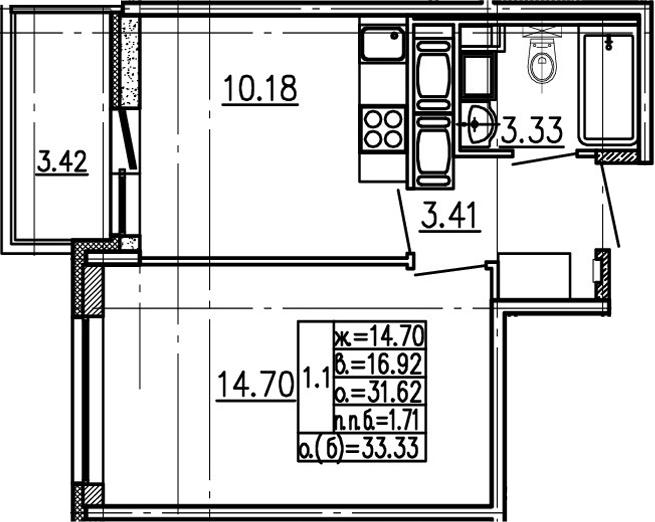 1-комнатная 35 м<sup>2</sup> на 24 этаже