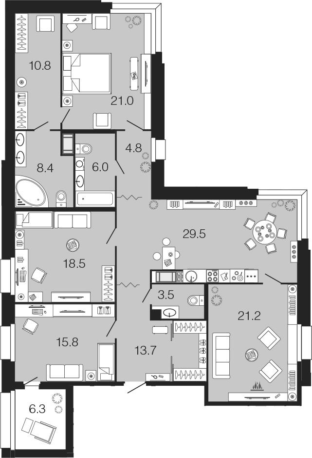 4-комнатная 159 м<sup>2</sup> на 5 этаже