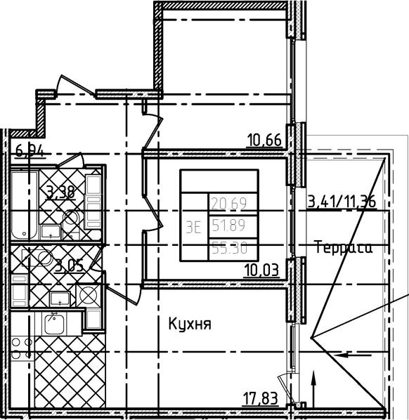 3-комнатная 63 м<sup>2</sup> на 17 этаже