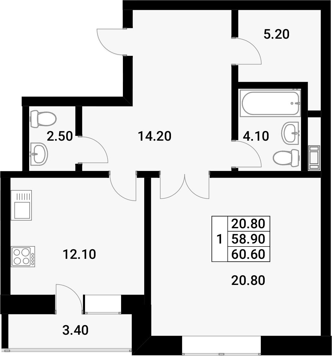 1-к.кв, 62.3 м²