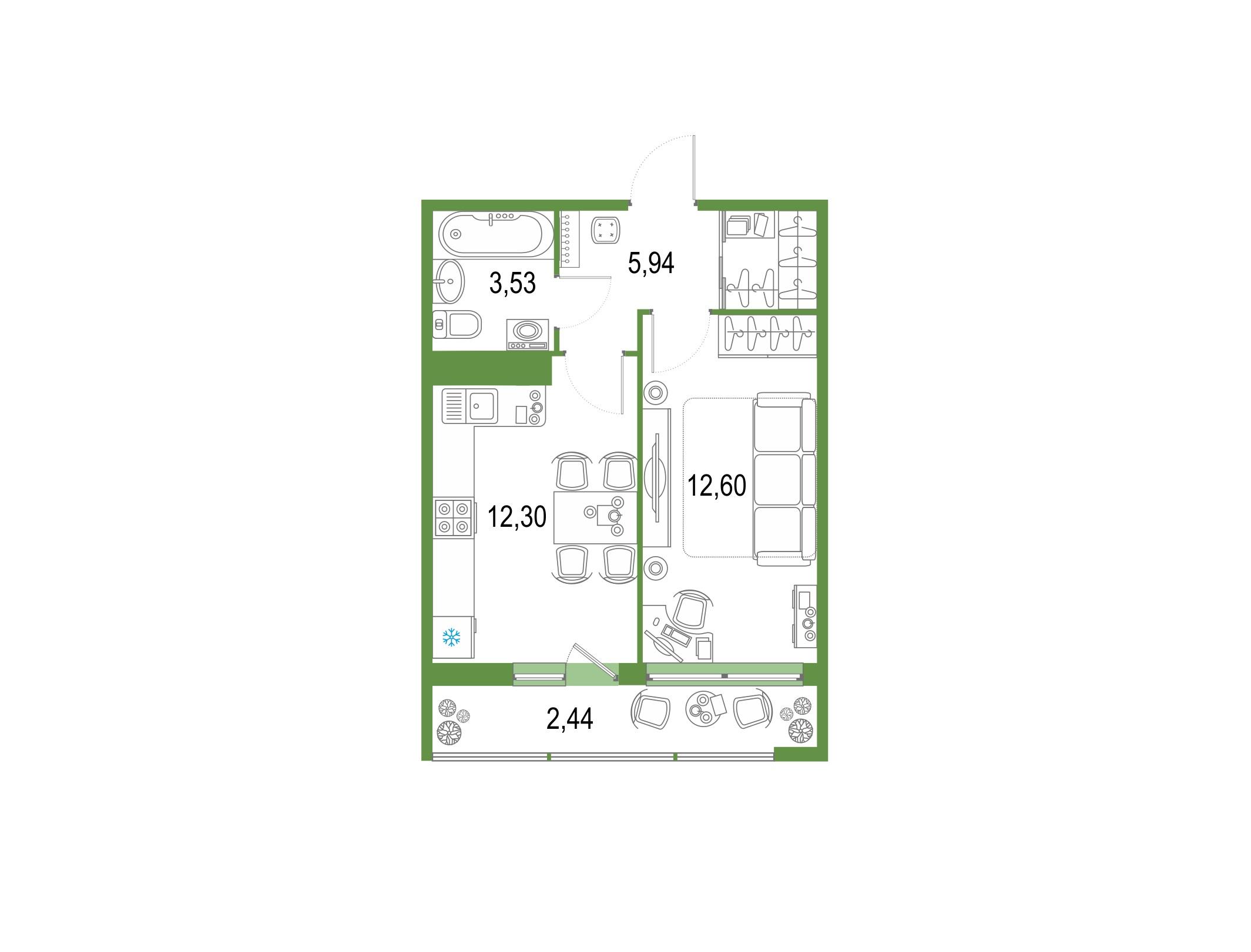 1-комнатная 39 м<sup>2</sup> на 22 этаже