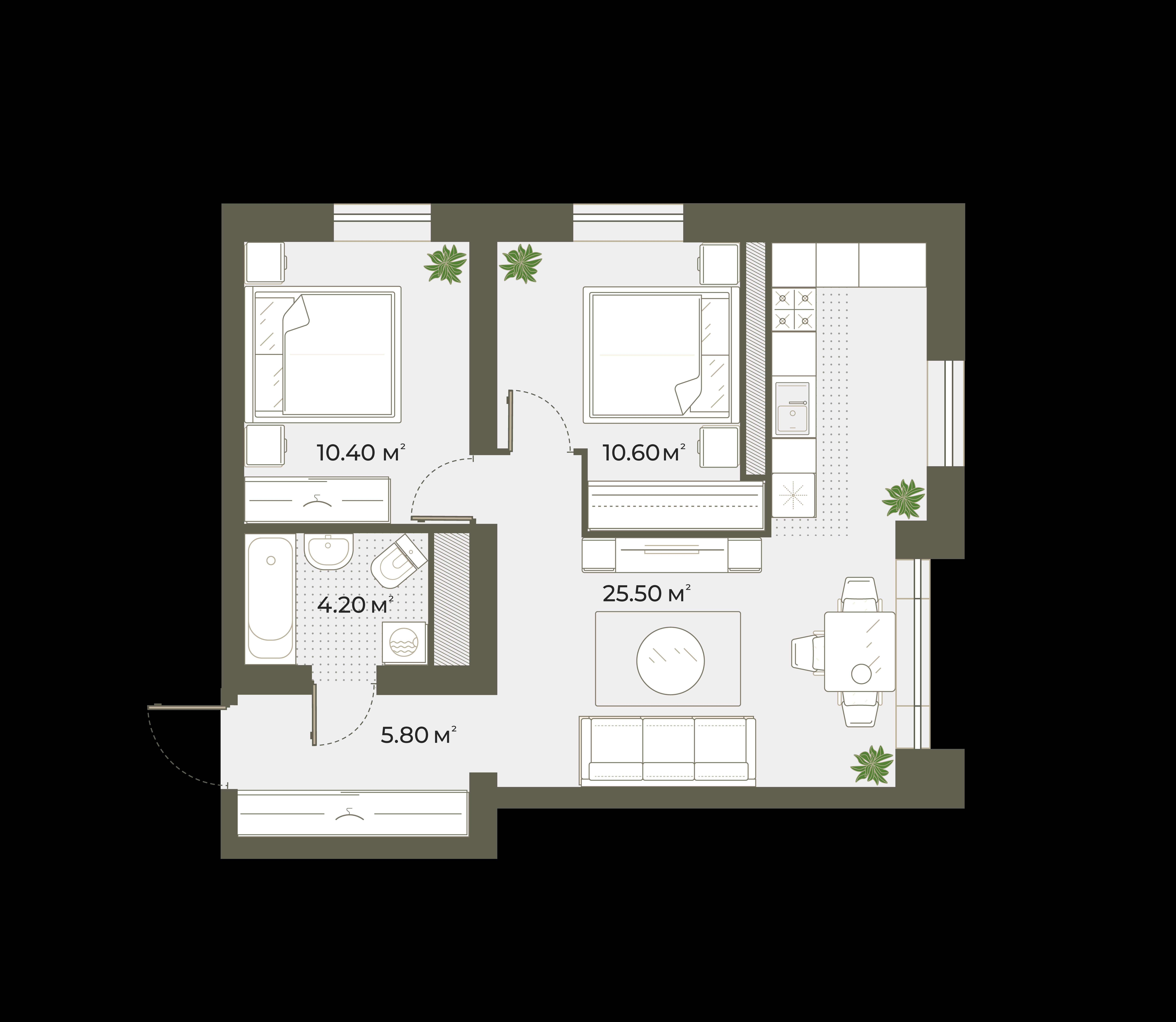 3-комнатная 57 м<sup>2</sup> на 3 этаже