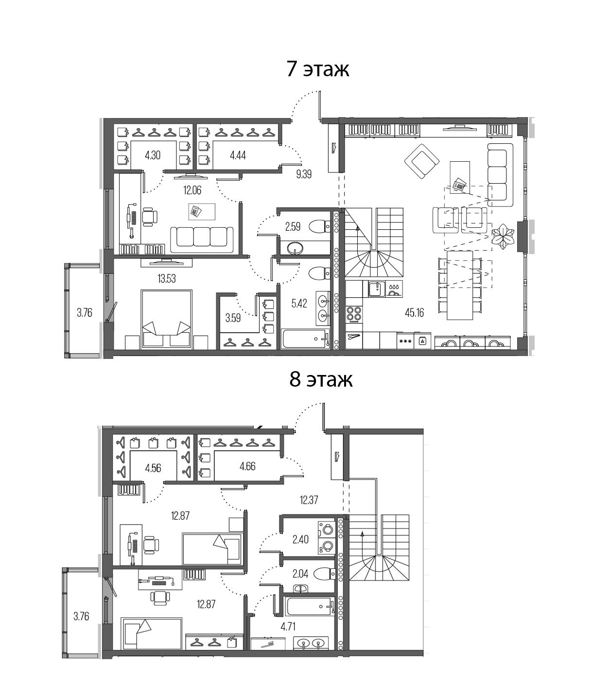 4-комнатная 164 м<sup>2</sup> на 7 этаже