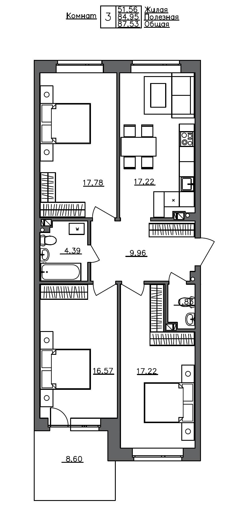 4-комнатная 93 м<sup>2</sup> на 1 этаже
