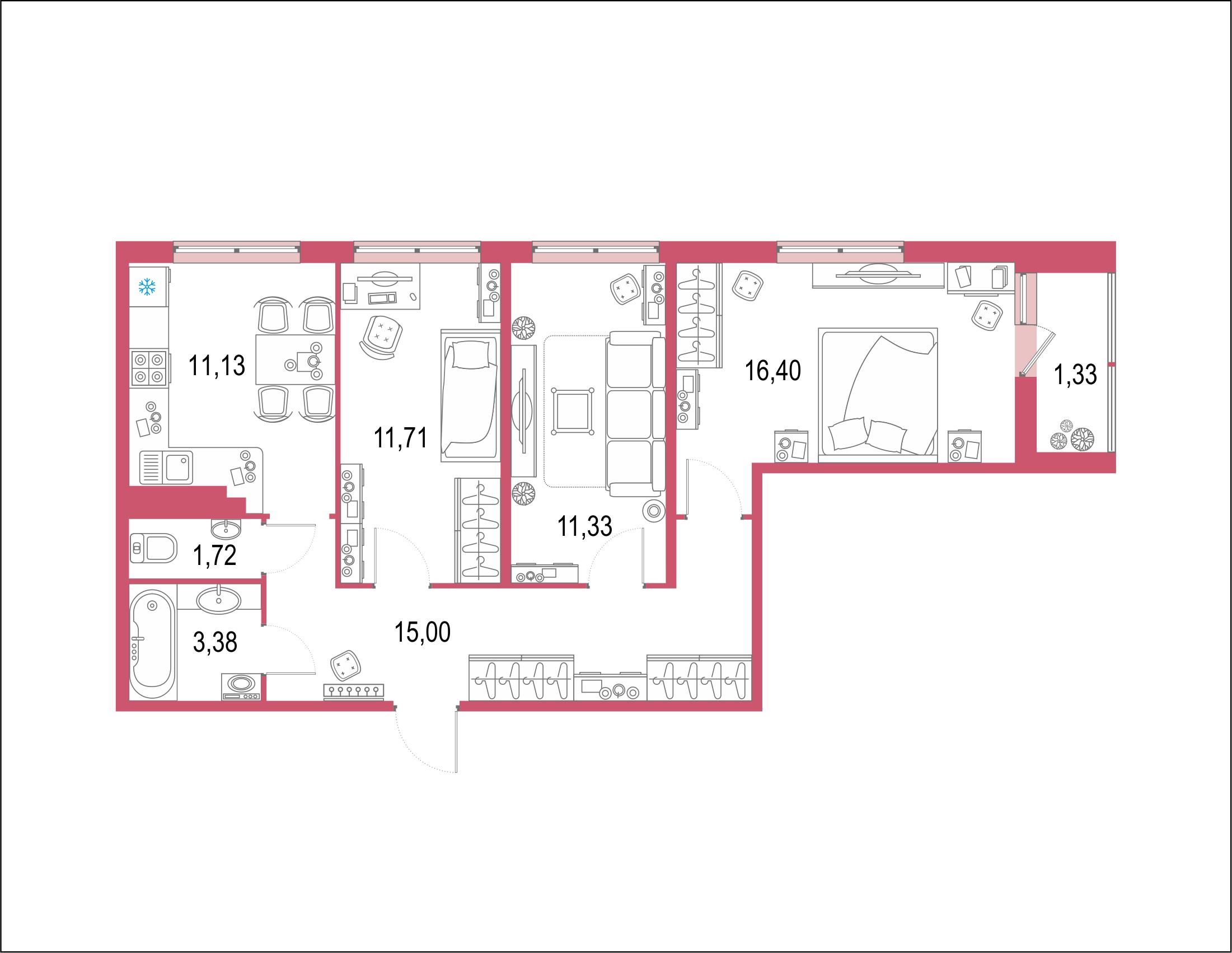 3-комнатная 73 м<sup>2</sup> на 20 этаже
