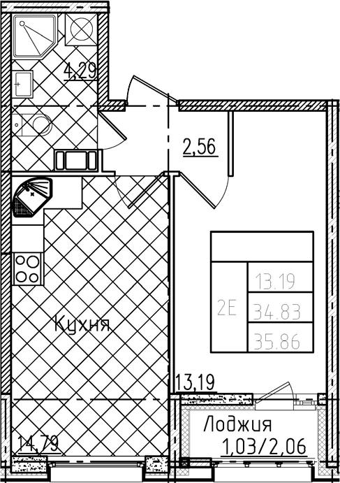 2-комнатная 36 м<sup>2</sup> на 12 этаже