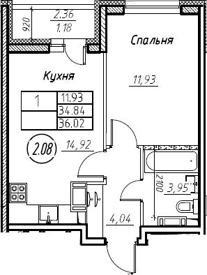 1-комнатная 37 м<sup>2</sup> на 14 этаже