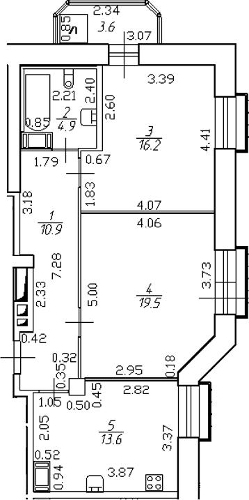 2-комнатная 68 м<sup>2</sup> на 17 этаже