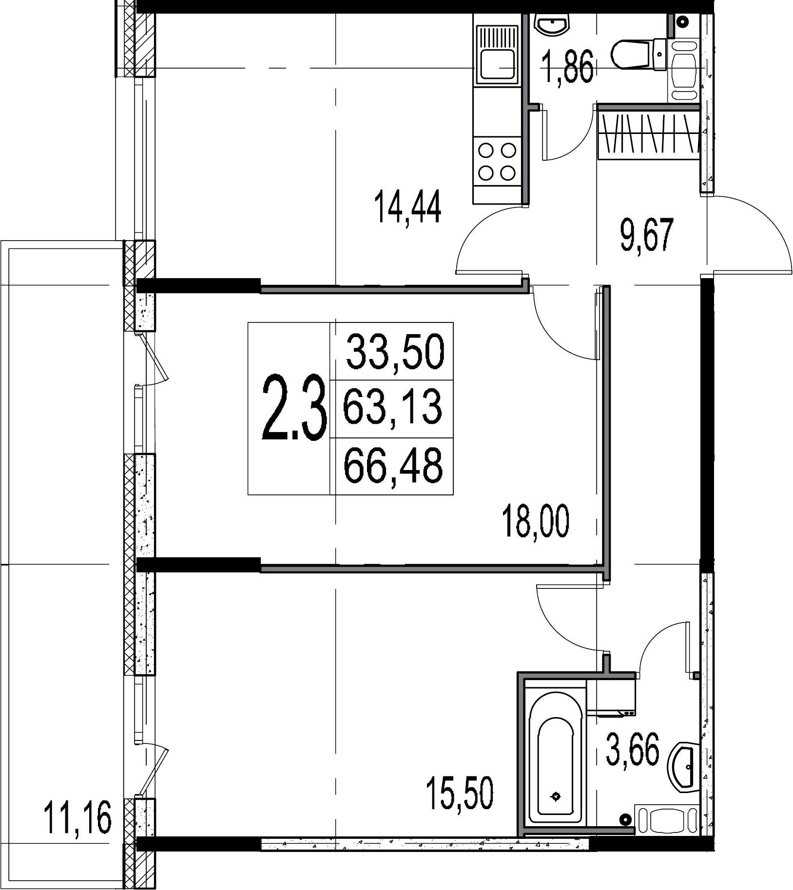 2-комнатная 74 м<sup>2</sup> на 4 этаже